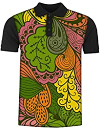 Snoogg Vector Abstract Texture with Abstract Flowers Endless Background Ethnic Men's Polo T-Shirt with Collar Stylish Half Sleeve (Cotton,Polyester)