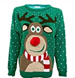 Hina Fashion Frauen Unisex Rudolph Print 3D-Pom Pom Nase Weihnachtspullover Sweater (Medium,38, Grün)