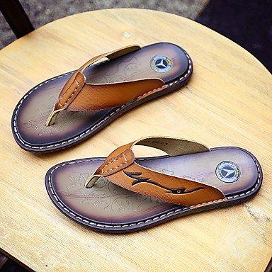 Chaussons et ampli hommes d'été en cuir de vache Casual brun clair Sandales brun foncé sandales US8.5-9 / EU41 / UK7.5-8 / CN42