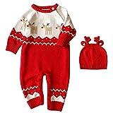 Baywell Baby Jungen Mädchen Strampler Overall Baby Weihnachten Kleidung Set Roten Neugeborene Jumpsuit, Unisex Winterjacke Onesie (0-4Monat, C)