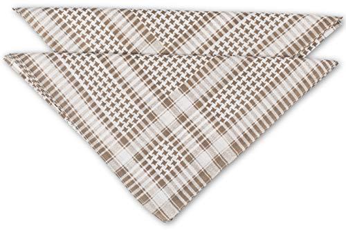 fashionchimp ® Nicki-Halstuch aus 100% Baumwolle im 2er Set, Unisex Bandana, AZO-Frei (Beige-Pepita) - Unisex Set