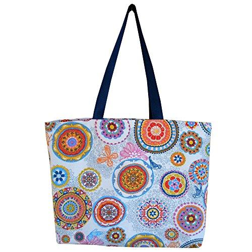 """Bolsa de playa / Bolsa para ir de compras / Bolsa para el ocio """"Mandalas azul"""" - 48x35x10cm - 100% Algodón - Lavable en lavadora – Hecha a mano"""