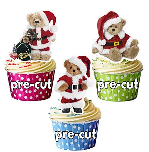 12süße Weihnachten Teddybären in Santa Hüte Essbare Cup Cake Topper-Dekorationen (Santa, Elf Hut)
