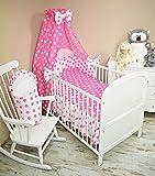 Amilian® Bettset mit Nestchen Kinderbettwäsche Himmel 100x135cm NEU Vollstoffhimmel Lebkuchen Rosa (8 tlg) Rüsche