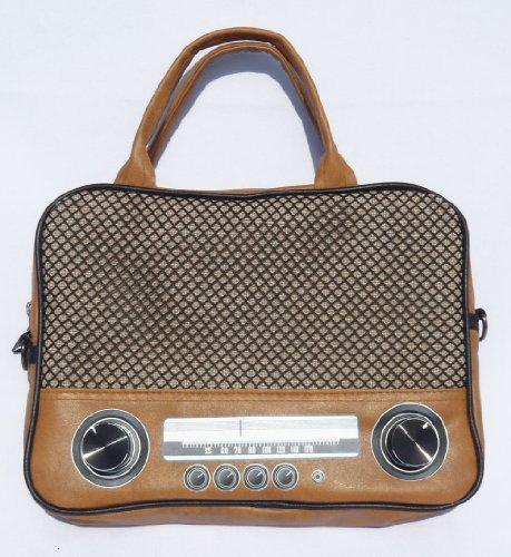 """Radio Laptoptasche 11"""" Zoll Notebooktasche iPad Tasche mit Henkel Umhängetasche Retro Bag Schultertasche"""