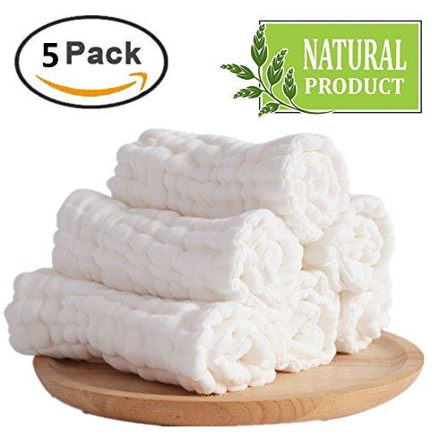 Baby weiße Wäsche Tücher-natürliche Bio-Baumwolle Baby-Feuchttücher - weiche neugeborenes Baby Handtuch und Musselin Waschlappen für empfindliche Haut, 5 Stück 25,4 x 25,4 cm von Mulinn