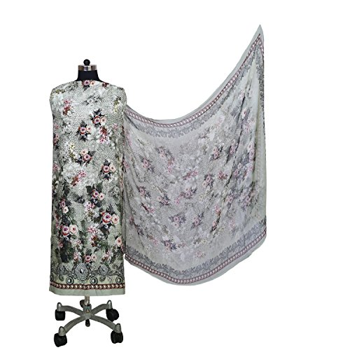 Prints Forever Mulmul Cotton Gray Unstitched Suit with Silk Chiffon Dupatta for...