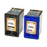 2 Logic-Seek Tintenpatronen kompatibel zu HP 22XL + HP21 XL C9351A C9351CE C9352A C9352CE