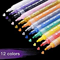 Pennarelli a Vernice acrilica,18 Colori Permanenti Pittura Arte Set di Penne per Pittura su Vetro,Album per fotografie Fai da Te