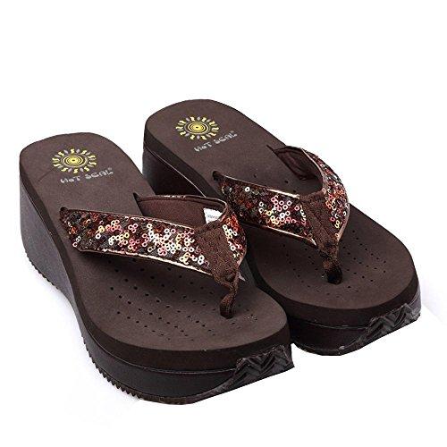 Scarpe Donna PVC EVA Casual Zeppa infradito pantofole all'aperto Altri colori disponibili Brown