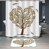 Ommda Duschvorhang Textil Wasserdicht Duschvorhang Anti-schimmel Tier Digitaldruck Waschbar mit 12 Duschvorhang Ring 150x180cm(Keine Matten) Feder