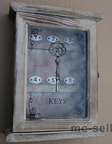 Dekorativer Schlüsselkasten in Braun aus Holz - Landhaus Stil - mit Glastür - 24,5x32cm Wand Dekorative Schlüsselkasten