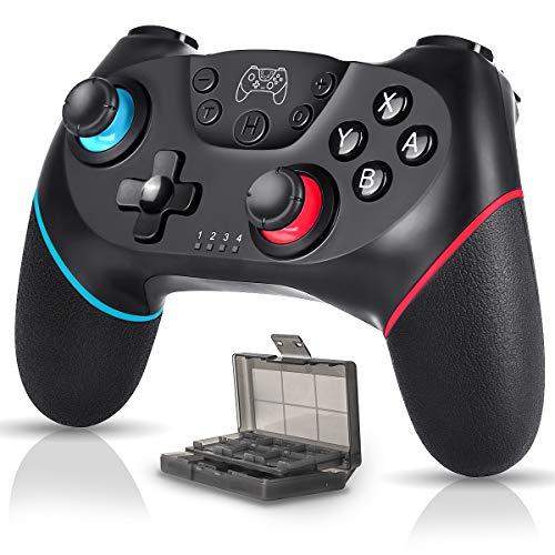 Manette pour Nintendo Switch Pro sans fil Bluetooth Nintendo Switch Manette rechargeable 6 axes HD DualShock Turbo antidérapante avec boîtier pour carte de jeu