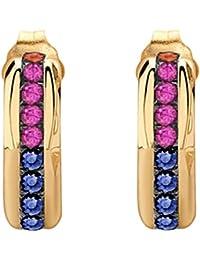 Missoma 18ct Gold Vermeil Hoop Multi Sapphires Earring