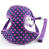 #3: VUGSUCE Knitted Harness Dog Belt Set Vest Mesh Adjustable Breathable Pet Harness Legs Chest Strap for Chihuahua Puppy Small Dogs - S, Purple