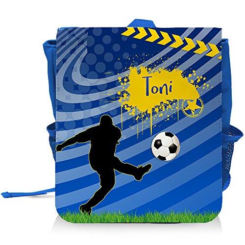 Kinder-Rucksack mit Namen Toni und blauem Fußball-Motiv für Jungen