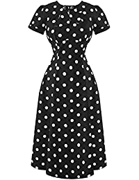 Hell Bunny Madden Black 1940s Wartime WW2 Polka Dot Retro Vintage Victory Dress