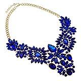 Jerollin Damen Halskette Collar Choker Collier Halsreif Necklace Glas Grosse Groß Statement Kette Blau Vintage Elegant Anhänger Trachtenschmuck Modeschmuck