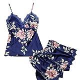 Lenfesh Ropa de Dormir Conjunto de Pijama Floral Estampado 2 Piezas Topa + Pantalones Sexy Cuello V Ropa de Dormir