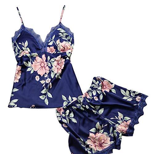 Modal Lace Trim Cami (Mode sexy Spitzenband Druckanzug Pyjamas YunYoud lingerie damenunterwäsche Damen Nachtwäsche Set Frauen Sleeveless Strap Lace Trim Satin Pyjama Sexy Negligee Nachtkleid)