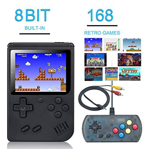 weikin Handheld-Spielkonsole,168 Klassische Spielen 3-Zoll-LCD-Bildschirm tragbare Retro-Videospielkonsole Unterstützt das Anschließen an den TV-Anschluss und das gleichzeitige Spielen zwei Spielern-L