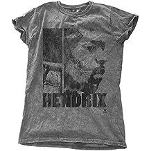 Jimi Hendrix T Shirt Let Me Live offiziell damen Nue Grau Skinny Fit Snow Wash