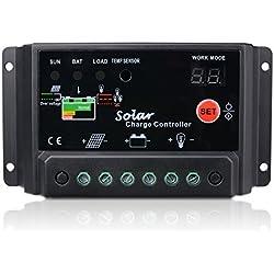 30A Regulador de Carga Sunix, 12V-24V Controlador de Carga de Inteligente PWM Panel Solar, Protección contra Sobrecarga, Compensación Automática de Temperatura