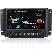 Sunix® Regulador de Carga, 30A 12V-24V Controlador de Carga de Inteligente PWM Panel Solar, Protección contra Sobrecarga, Compensación Automática de Temperatura