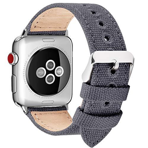 Fullmosa 8 Colores Lona Estilo Banda Compatible para iWatch/Apple Watch Series 3 2 1, 38mm 40mm, Gris nórdico