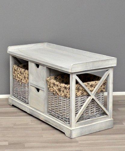 Panca in grigio stile country con cestini con stoffa di fiori per la cucina corridoio e per il bagno - Cestini per bagno ...