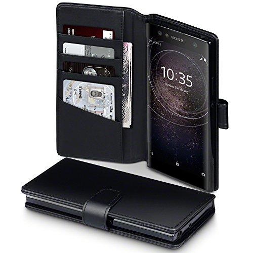Terrapin, Kompatibel mit Sony Xperia XA2 Ultra Hülle, [ECHT LEDER] Brieftasche Case Tasche mit Standfunktion Kartenfächer und Bargeld - Schwarz