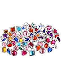 72 Pieces Plastic Colorful Rhinestone Gem Rings Sparkle Adjustable Big Jewel Rings Princess Ring Toy Rings Girls Dress Up Accessories