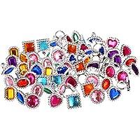 86ad38b29760c8 72 Pièces Bague en Pierres Précieuses en Plastique Coloré Sparkle Réglable  Gros Anneaux Bijou Anneaux Princesse