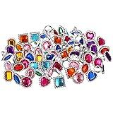 72 Piezas de Anillo de Gema Diamante de Imitación de Plástico Anillos de Joyería Grande Ajustable Brillante Anillos de Juguete Accesorios de Disfraces