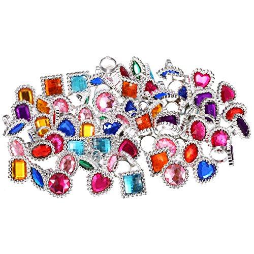 72 Piezas de Anillo de Gema Diamante de Imitación de Plástico Anillos...