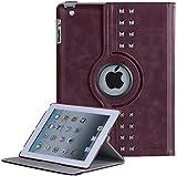 Custodia iPad 2, iPad 3 Cover, iPad 4 Case, BENTOBEN Pelle Custodia rigide 360 Girevole Kickstand Smart Cover Retro Stile Auto Sleep Wake Protettiva Custodia per iPad 2 3 4, Vino rosso