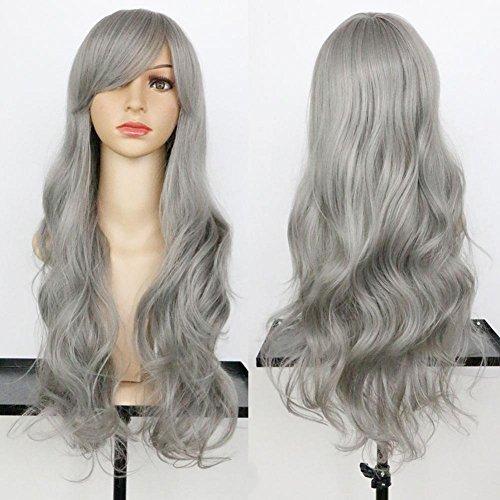 Graue Perücken für Frauen Natürliches, tiefes, gewelltes, langes, synthetisches Haar, halb, gefesselt, hitzebeständig, mit Kappenperücken (Graue Echte Perücken)