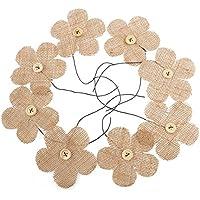 LUOEM 8pcs Fiori della tela Iuta Imballaggio Plum Fiori Bottoni Legno Stile per Indoor Outdoor Decorazione Marrone