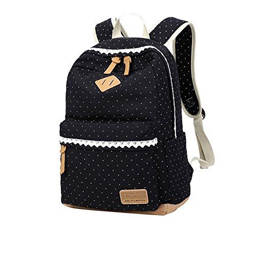 Mädchen Segeltuch Rucksack Lace Polka Punkt Schulrucksack Süße und Moderne Schultasche Große Kapazität für Schule Outdoor Camping Ausflug (Schwarz) -