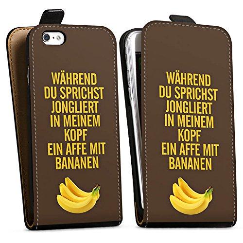 Apple iPhone X Silikon Hülle Case Schutzhülle Affe Bananen Sprüche Downflip Tasche schwarz