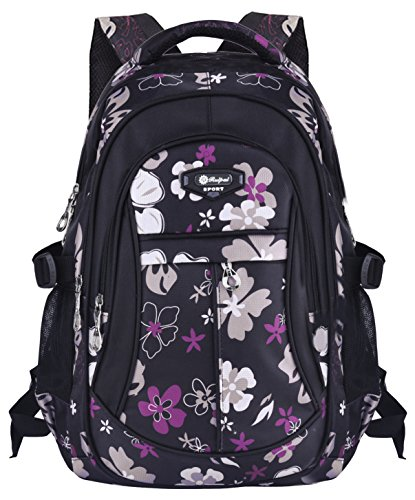 Schulrucksack, Coofit Schultasche Schulranzen Vintage Blumen Sportrucksack für Mädchen Jungen Jugendliche (Blumen-mädchen-rucksack)