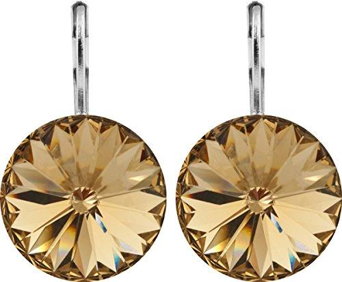 petra kupfer Damen Ohrringe Ohrhänger Rivoli 1 Swarovski®-Kristall 14 mm Gold Light Colorado Topaz Versilbert hk14tb-light-colorado-topaz