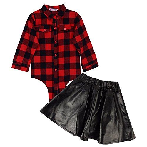 Demiawaking Kleinkind Kinder Baby Mädchen Ausstattungs Kleidung T-Shirt Hemd Oberseite + Leder Rock Kleid 2PCS Kleidung Set (1-2 Jahre)