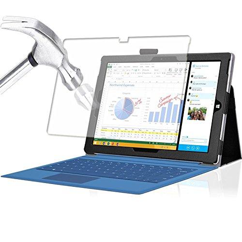 Tasche für Microsoft Surface Pro 3 mit praktischer Stand Funktion aus robustem Kunstleder und zusätzlicher Display-Schutz-Glas Panzerglas kombiniert Schutz und Design für Ihr Microsoft Surface Pro 3 Hülle Cover Case Schwarz von UC Express®