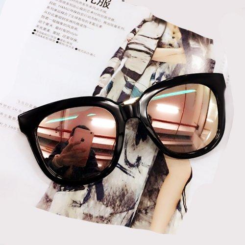 Sunyan Sterne der Sonnenbrille Mädchen rundes Gesicht der koreanischen Version des Neuen retro Tide square Männer ultra - schwarz Sonnenbrillen und Brillen, auf der Black Ice Pulver - die Box + die