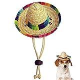 OTENGD Chien Sombrero Chapeau Mini Chapeaux de Paille décorations de fête drôle...