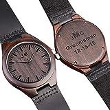 Personalisierte Gravierte Holz-Uhren für Herren, personalisierbare Gravur, ideal als Geschenk für den Bräutigam