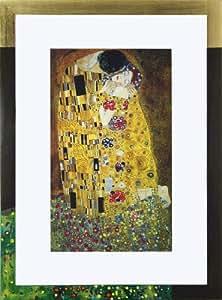 bild kunstdruck gustav klimt der kuss galeriebild mit 24 karat blattgold 58 x 78 cm. Black Bedroom Furniture Sets. Home Design Ideas