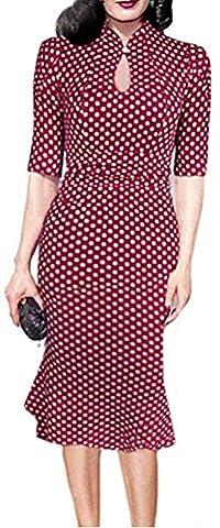 SunIfSnow - Robe spécial grossesse - Moulante - À Pois - Col Boutonné - Manches Courtes - Femme - rouge - Medium