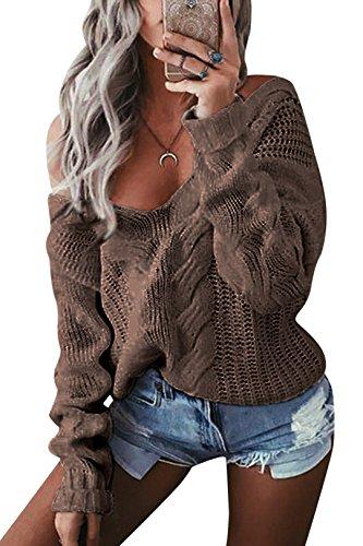 YOINS Oversize Pullover Damen Strickpullover Damen Sexy Off Shoulder Langarmshirt Schulterfrei V-Ausschnitt Causal T-Shirt Camel L/EU44